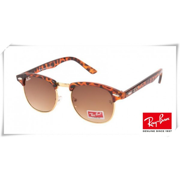 78d050e1400 Fake Ray Ban RB3016 Classic Clubmaster Sunglasses Tortoise Brown Red ...